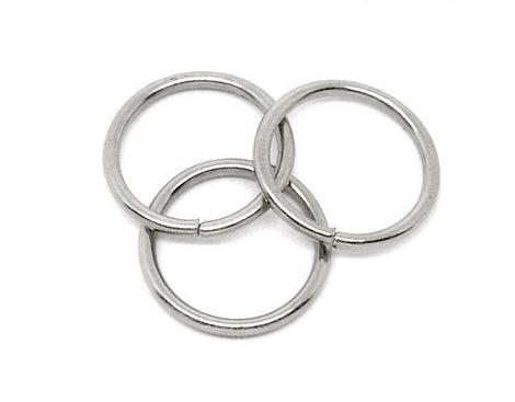 25 Silver Tone Open Jump Rings 12mm x 1.5mm, 15 gauge wire  jum0046a