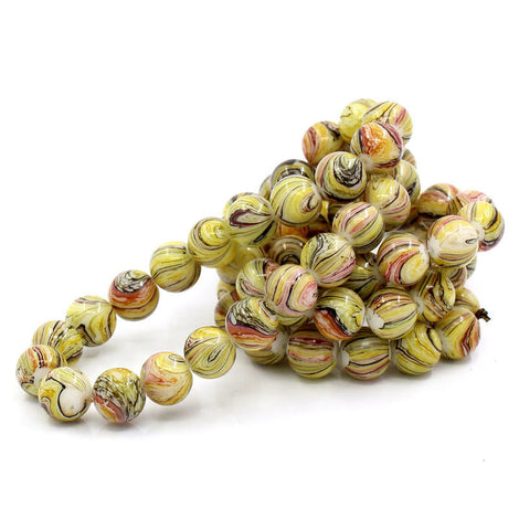 12mm Yellow, Pink, White and Black Striped Glass Beads . 30 beads . bgl0265