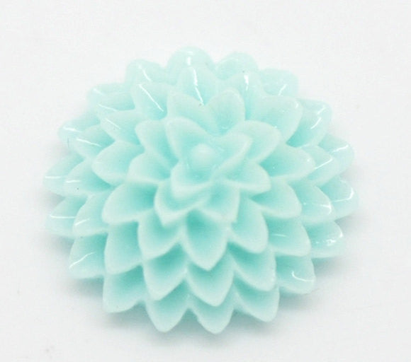 10 Resin Flower Cabochons, Chrysanthemum Mum . LIGHT TURQUOISE BLUE .  15mm  cab0150