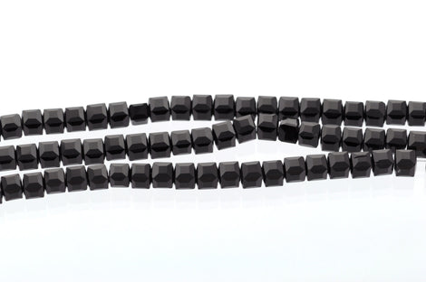 10 Faceted Crystal CUBE Beads, Precision Cut, JET BLACK , 6mm  bgl0615