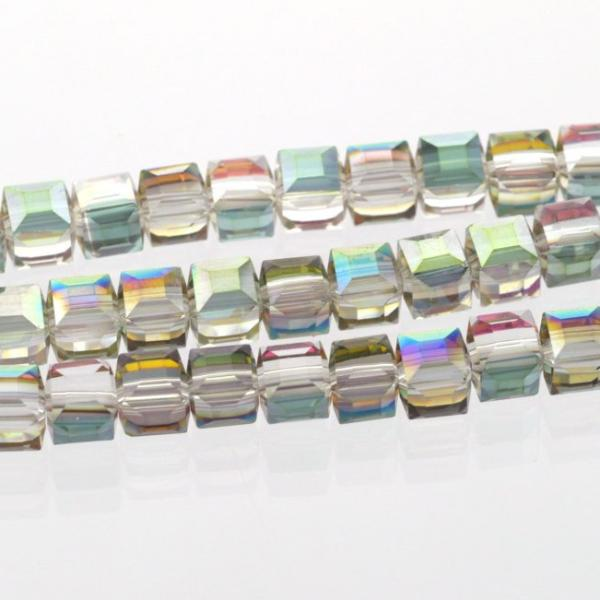 10 Faceted Crystal CUBE Beads Metallic NORTHERN LIGHTS ab, 6mm bgl0602a