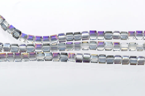 10 Faceted Crystal CUBE Beads, Precision Cut, Metallic MYSTIC PURPLE ab, 6mm  bgl0601