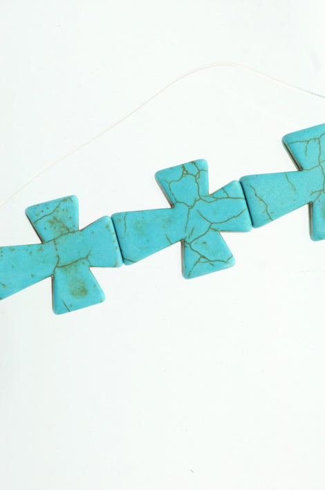 1 Strand (11 beads) Large Howlite Stone Beads TURQUOISE BLUE Maltese CROSS . 36x30mm  how0311b