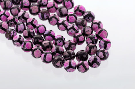 10 Polished Round Faceted PINK and BLACK AGATE  Beads  12mm gag0096