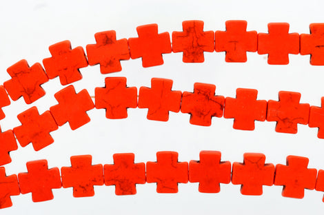 1 strand Synthetic Howlite Stone Beads ORANGE 15mm how0164