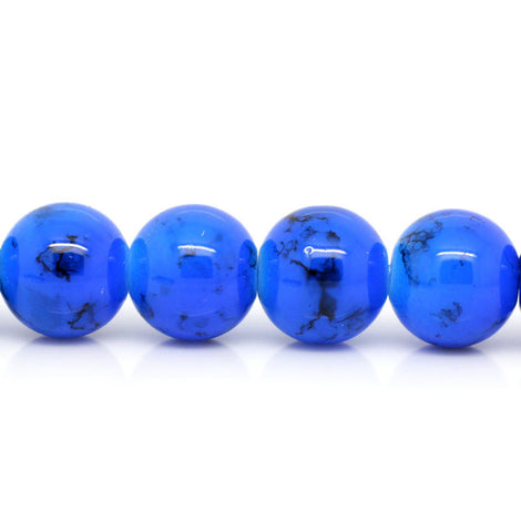 12mm Royal Blue with Black Swirl Marble Glass Beads . 30 beads BGL0014