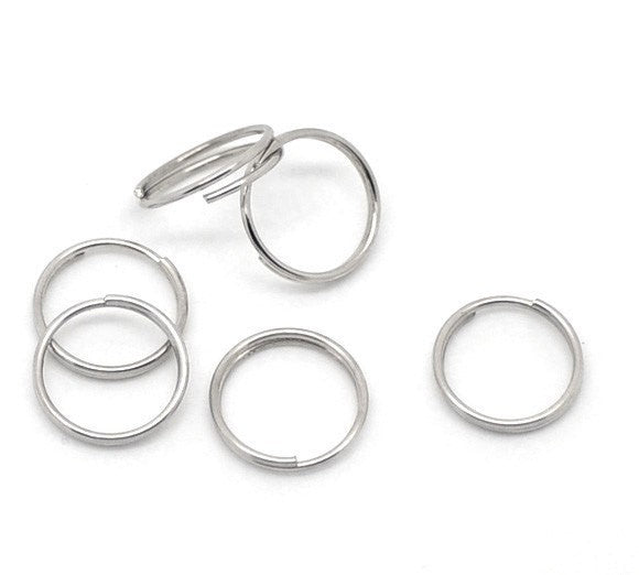 BULK 300 Silver Tone Double Loops Split Rings Open Jump Rings 10mm  jum0082b
