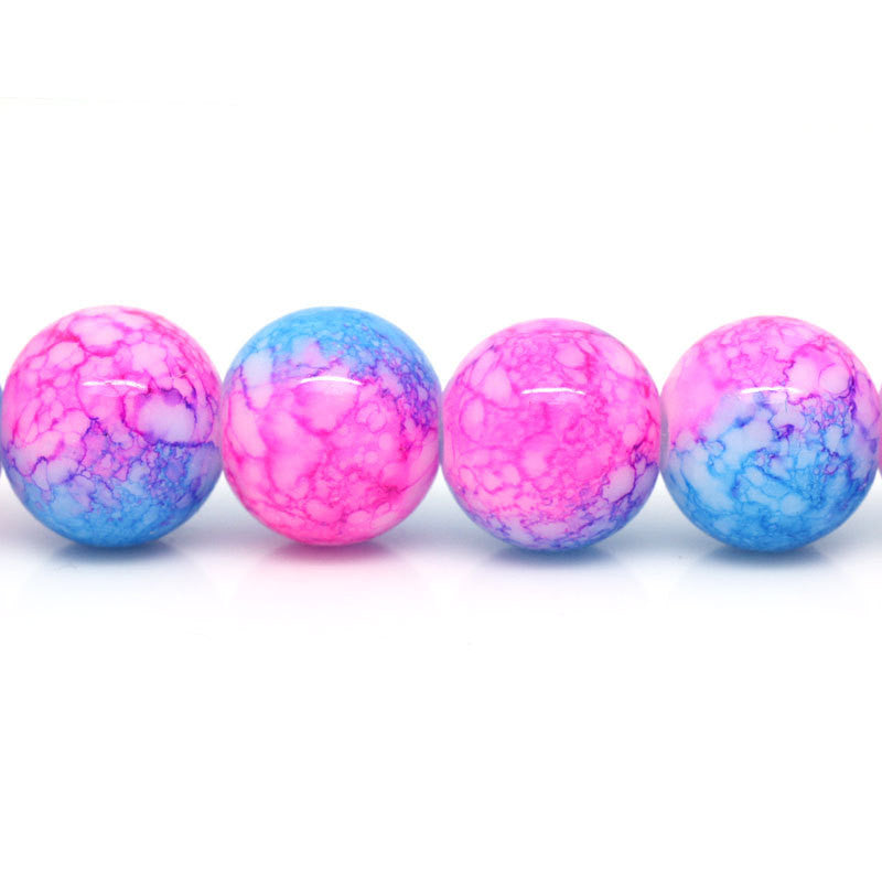 12mm Rose PINK, White and BLUE Swirl Marble Glass Beads . 30 beads . bgl0261