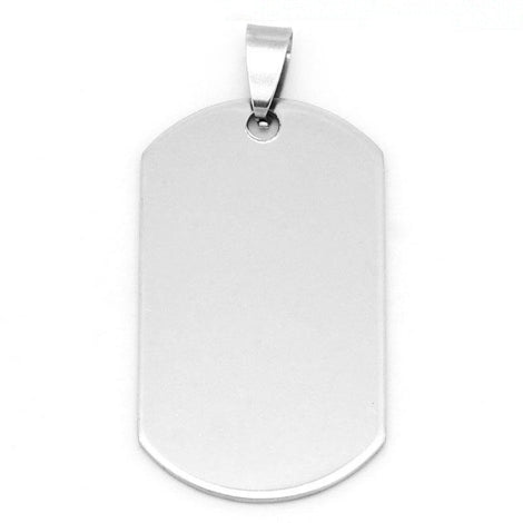 1 Large Stainless Steel Metal Stamping Blank Pendant, DOG TAG rectangle shape, bail . 42mm x 24mm  18 gauge  MSB0121