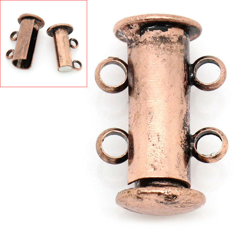 2 Magnetic 2-strand COPPER Plated Slider Connector Clasps, 15x10mm  for Multi Strand Bracelets and Necklaces fcl0071