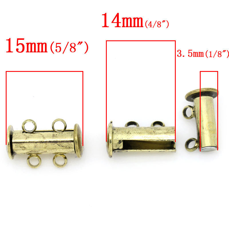 2 Magnetic 2-strand Antiqued GOLD BRASS Plated Slider Connector Clasps, 15x10mm  for Multi Strand Bracelets and Necklaces fcl0085