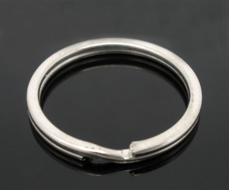 10 Large Silver Tone Double Loops Split Rings Open Jump Rings 25mm key ring  fin0342