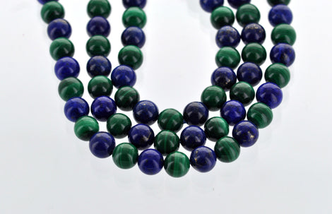 8 matching Polished Round LAPIS LAZULI and Emerald Green MALACHITE Beads . 8mm . Grade A genuine gemstones . non-faceted.  gmx0003
