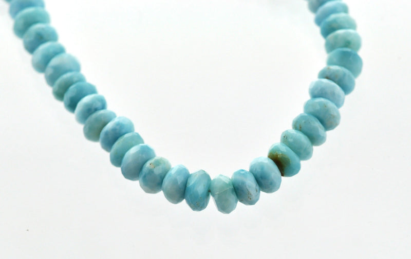 "NATURAL LARIMAR Rondelle Beads . 8"" strand of loose beads"