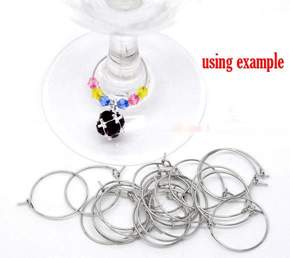 BULK Package 200 Small Dark SILVER TONE Plated Wine Glass Charm Rings or Earring Hoops 20mm  fin0083