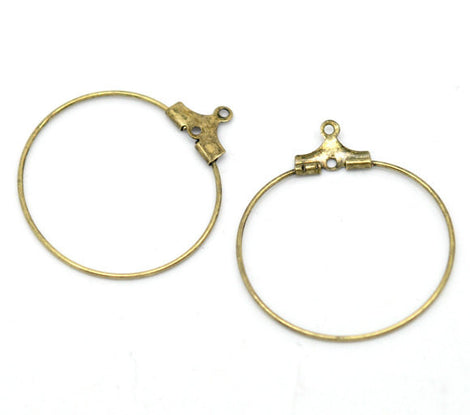 12 Medium FANCY BRONZE Plated Wine Glass Charm Rings or Earring Hoops 26mm  fin0278a