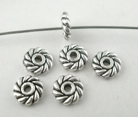 50 pcs 6mm Small Pewter DAISY Swirl Round Spacer Beads bme0167