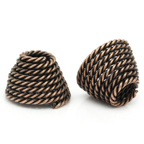 "6 Large Bead Caps Cone Shape Spiral COPPER (Fits up to 23mm Beads) 14mm x 10mm ( 1/2""x 3/8"") . Fin0104"