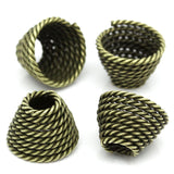 "6 Large Bead Caps Cone Shape Spiral ANTIQUE BRONZE (Fits up to 23mm Beads) 14mm x 10mm ( 1/2""x 3/8"")  fin0096"