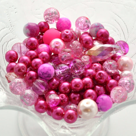 "PRETTY PINK Glass Bead Soup Mix, Crystal, crackle glass, lampwork, crystals, pearls 3"" x 4"" bag bgl0889"
