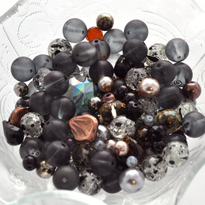 "STORMY NIGHT Glass Bead Soup Mix, Crystal, crackle glass, lampwork, crystals, pearls, brown, tan, black, grey  3"" x 4"" bag bgl0245"