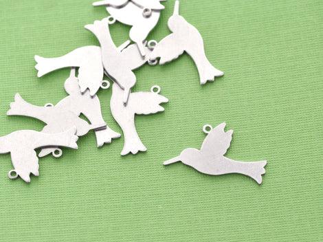 5 pcs. ImpressArt SOFT STRIKE ALUMINUM (tm) Metal Stamping Blanks Charms 23mm x 20mm Hummingbird Tag, 20 gauge msb0047