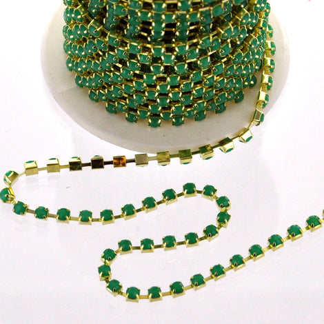 1 yard ( 3 feet ) Rhinestone Cup Chain, 3mm, gold brass base metal SPEARMINT GREEN colored opaque glass crystals fch0166