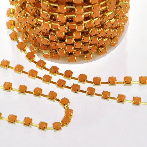 1 yard ( 3 feet ) Rhinestone Cup Chain, 4mm, gold brass base metal and PEACH COBBLER opaque glass crystals fch0165