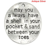 2 BEACH Charms, May you always have a shell in your pocket & sand between your toes, Stamped Silver Metal Oval Charms, 30mm x 26mm, CHS0018