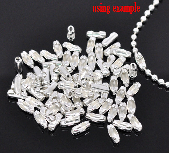 100 pcs Silver Plated Ball Chain Connector Clasp 10x4mm (Fits 3.2mm Ball Chain) fcl0011