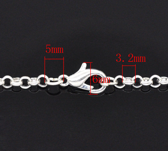 "One Dozen (12) Silver Plated Lobster Clasp ROLO Link Chain Necklaces 3.2x0.5mm, 18""  fch0086"