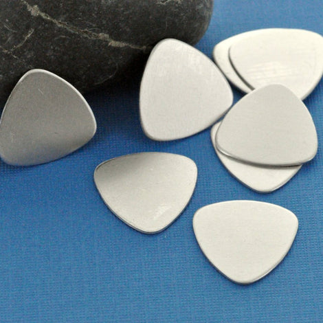 "10 Aluminum Metal Stamping Blanks Charms 7/8"" x 7/8"" GUITAR PICK TAGS 20 gauge  msb0026"