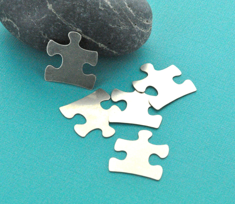 10 Nickel Silver Metal Stamping Blanks Charms AUTISM PUZZLE PIECE Tags, 24 gauge  msb0023