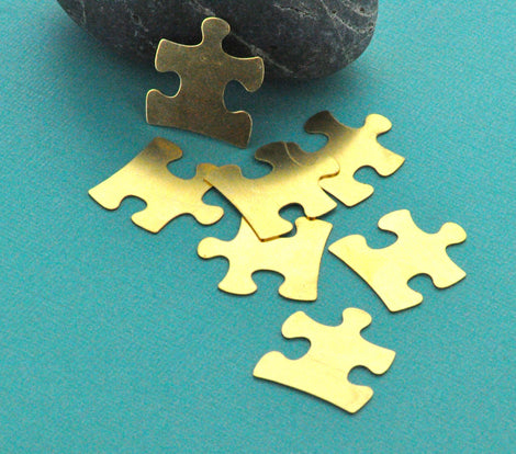 10 Brass Puzzle Piece Stamping Blanks, Metal Stamping Blanks Charms AUTISM PUZZLE PIECE Tags, gold brass, 24 gauge  msb0024