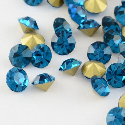 pp19 BLUE ZIRCON Rhinestone Chatons - Grade A Glass, Quality Machine Cut Crystals 144 pcs  1 gross, Small   cry0071