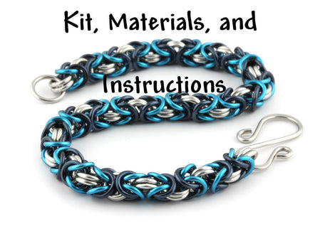 MISTY BLUE Tri-Color Byzantine Bracelet Weave Got Maille Chain Maille Kit, includes materials, full color instructions, kit0031