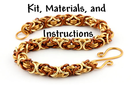 Gold, Tan, Brown CARAMEL LATTE Tri-Color Byzantine Bracelet Chain Maille Kit, includes materials, full color instructions kit0034