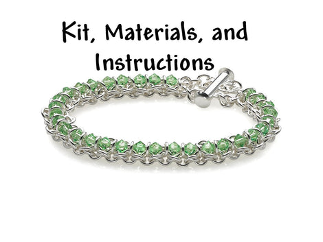 PERIDOT GREEN Spine of the Centipede Weave Bracelet Chain Maille Kit, includes materials, full color instructions, August Birthstone kit0026