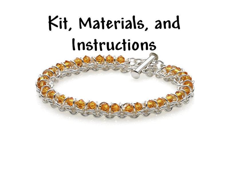 TOPAZ Spine of the Centipede Weave Bracelet Chain Maille Kit, includes materials, full color instructions, November Birthstone kit0029