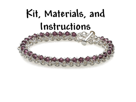 AMETHYST PURPLE Spine of the Centipede Weave Bracelet Chain Maille Kit, materials, full color instructions, February Birthstone kit0020