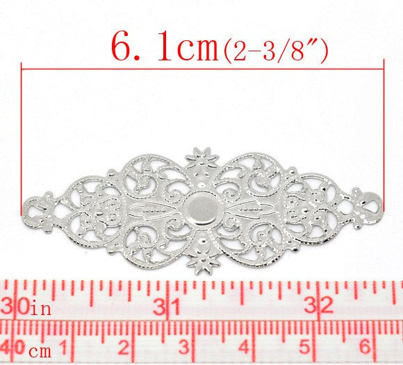 "50 bulk Silver Tone Metal Filigree Flat Wraps Connectors 6.1x2.4cm (2-1/2""x1-7/8"")  FIL0021b"