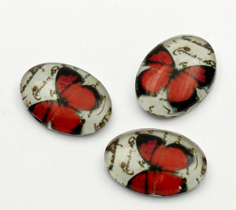 4 Oval Glass Cabochons, flatback, Orange Butterfly, 18mm x 13mm  cab0001