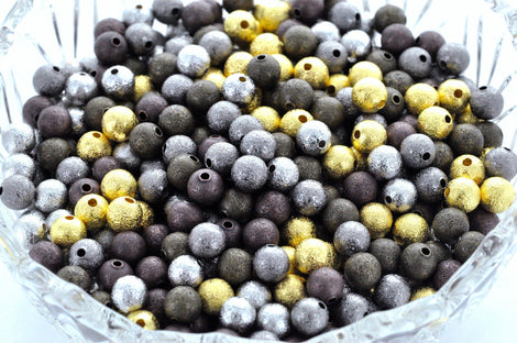 30 MIXED COLOR Stardust Metal Round Beads  8mm  BME0005