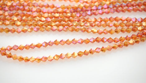 4mm SUNSET TANGERINE AB Faceted Bicone Crystal Glass Beads, about 78 beads, bgl1586