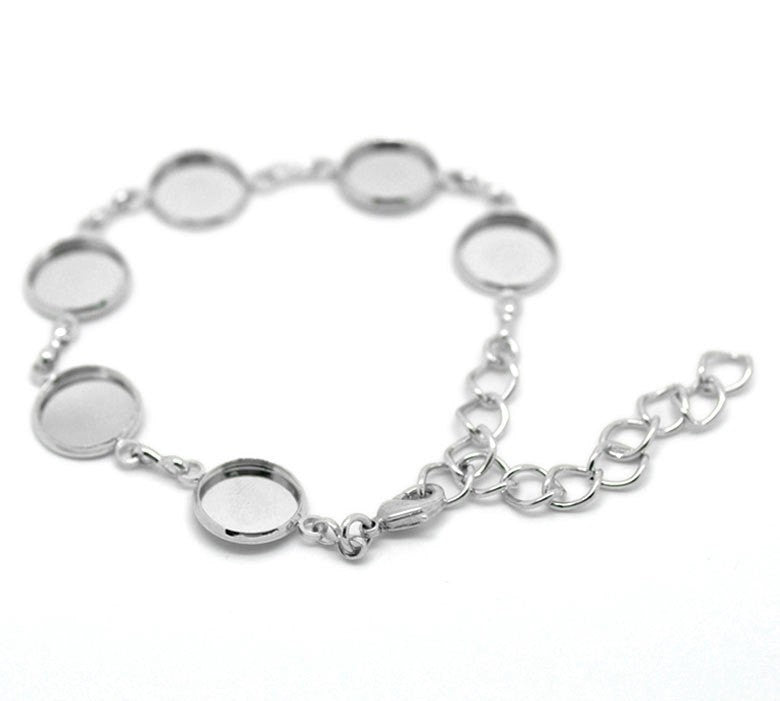 "1 Silver Tone Metal Cabochon Bracelet, 6-1/4"" long; fits cabochons up to 11.5mm  fch0145"
