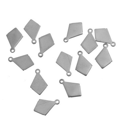10 Stainless Steel Metal Stamping Blank Charms, DIAMOND RHOMBUS tags. 18 gauge MSB0037