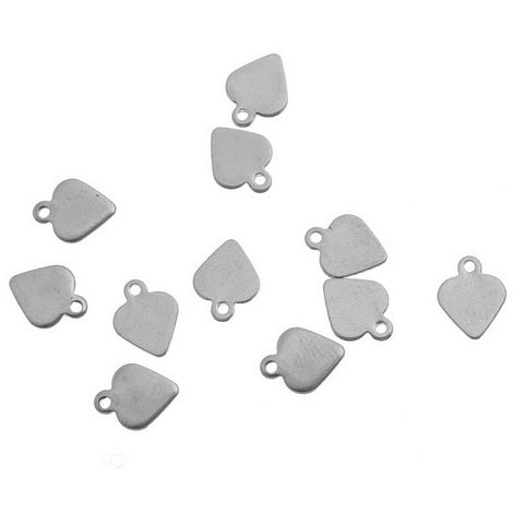 10 Stainless Steel Metal Stamping Blank Charms, SPADE shaped tags. 9x8mm 18 gauge MSB0038