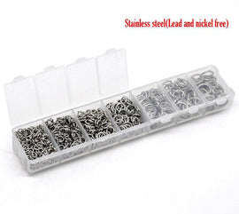 1 Box Mixed STAINLESS STEEL Open Jump Rings 4mm-10mm . 1410 PCs Assorted with Storage Box  jum0004