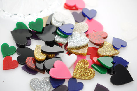Acrylic HEART Shapes, Cutouts Cabochons, Flatbacks, 100 pcs mixed random sizes, for decoden, kawaii