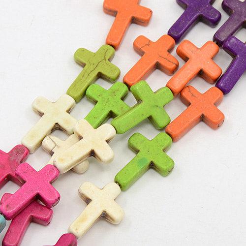 Large Howlite Stone Beads MIXED COLORS CROSS . 25x18mm how0002